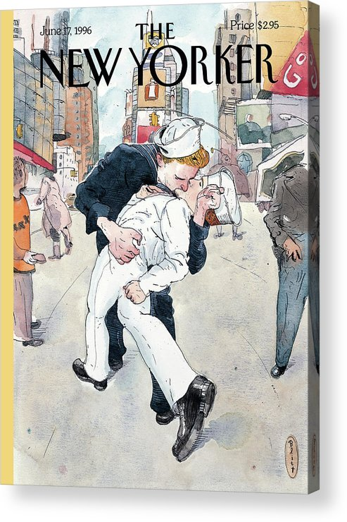 Don't Ask Acrylic Print featuring the painting A Couple Reenacts A Famous World War II Kiss by Barry Blitt