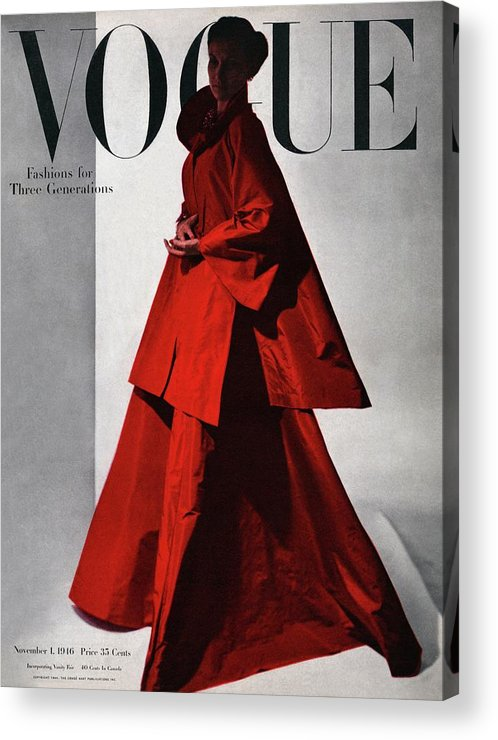 Fashion Acrylic Print featuring the photograph A Vogue Cover Of A Woman Wearing A Red by Horst P. Horst