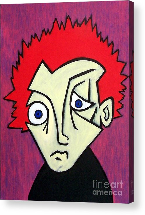 Portrait Acrylic Print featuring the painting Abstract Boy by Thomas Valentine