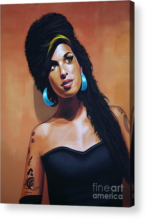 Amy Winehouse Acrylic Print featuring the painting Amy Winehouse by Paul Meijering