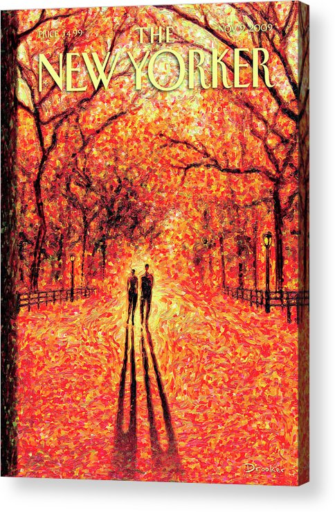 Nature Acrylic Print featuring the painting Autumn In Central Park by Eric Drooker