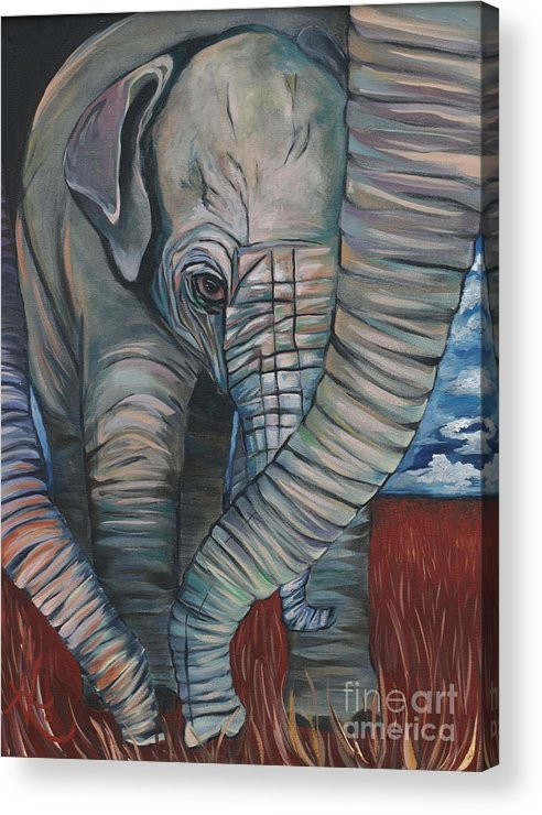 Baby Elephant Acrylic Print featuring the painting Baby Comfort by Aimee Vance