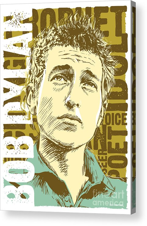 1960s Acrylic Print featuring the digital art Bob Dylan Pop Art by Jim Zahniser