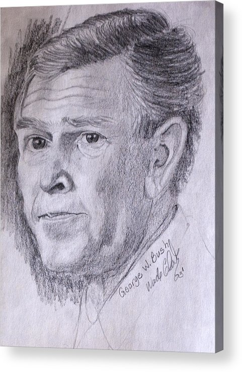 Bush.president Bush Acrylic Print featuring the drawing Bush by Wade Clark