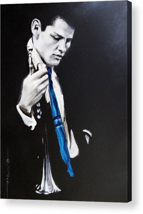 Chet Baker Acrylic Print featuring the painting Chet Baker - Almost Blue by Eric Dee