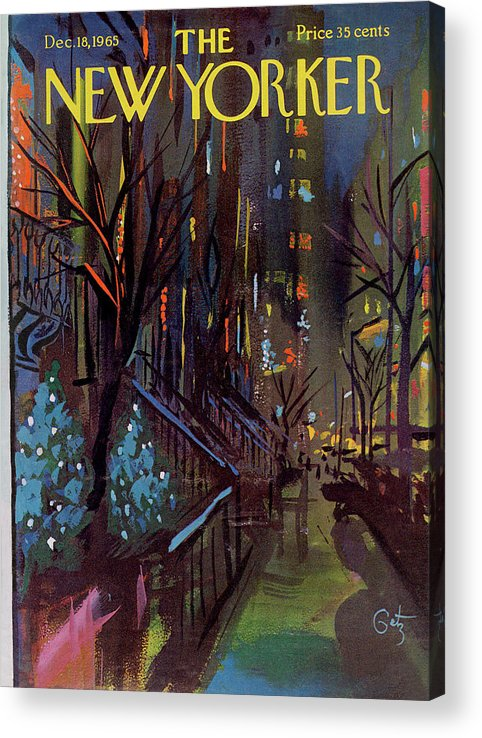 Christmas Acrylic Print featuring the painting Christmas In New York by Arthur Getz