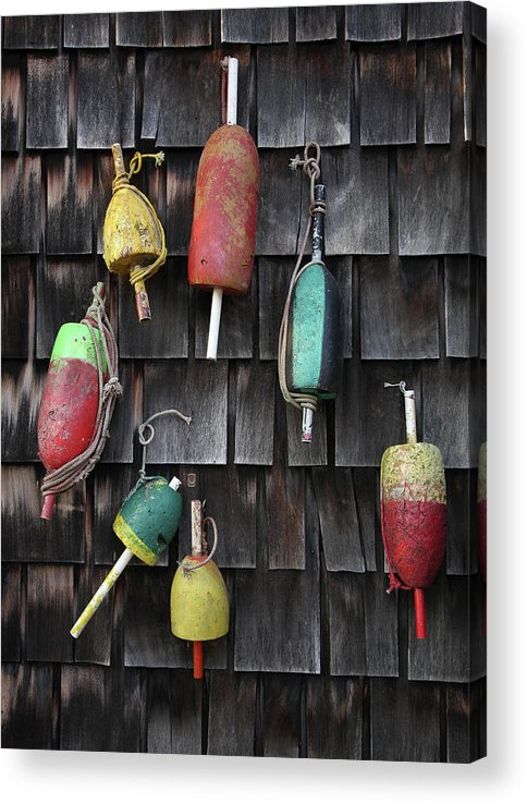 Cedar Tree Acrylic Print featuring the photograph Crab Pot Floats by Photo By Wayne Bierbaum; Annapolis, Maryland