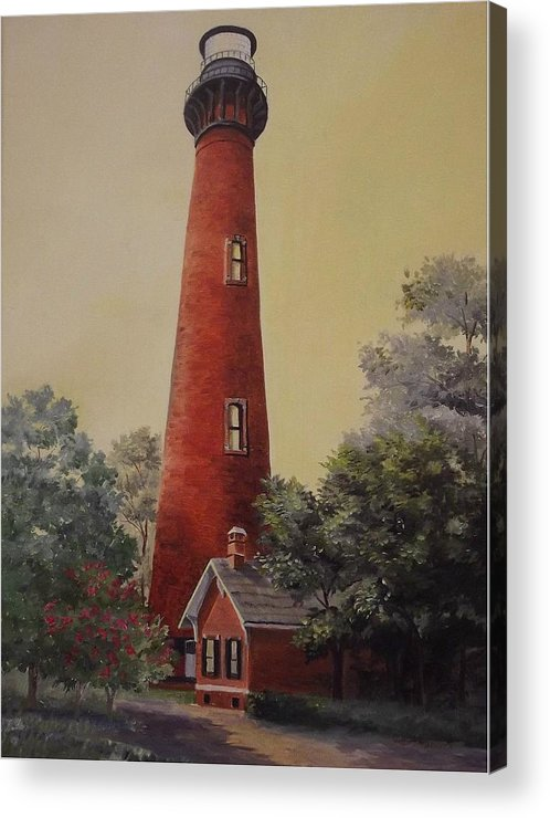 Lighthouse Acrylic Print featuring the painting Currituck Lighthouse by Wanda Dansereau
