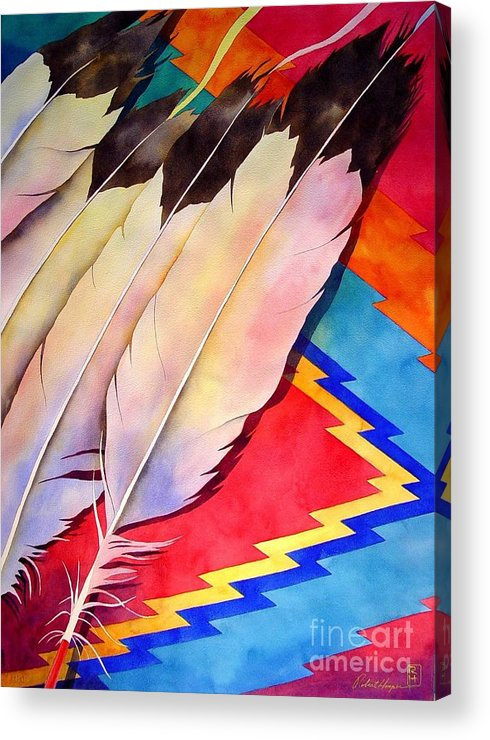 Watercolor Acrylic Print featuring the painting Dancer's Feathers by Robert Hooper