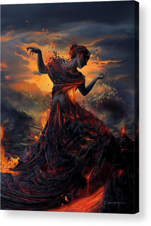 Fire Acrylic Print featuring the digital art Elements - Fire by Cassiopeia Art
