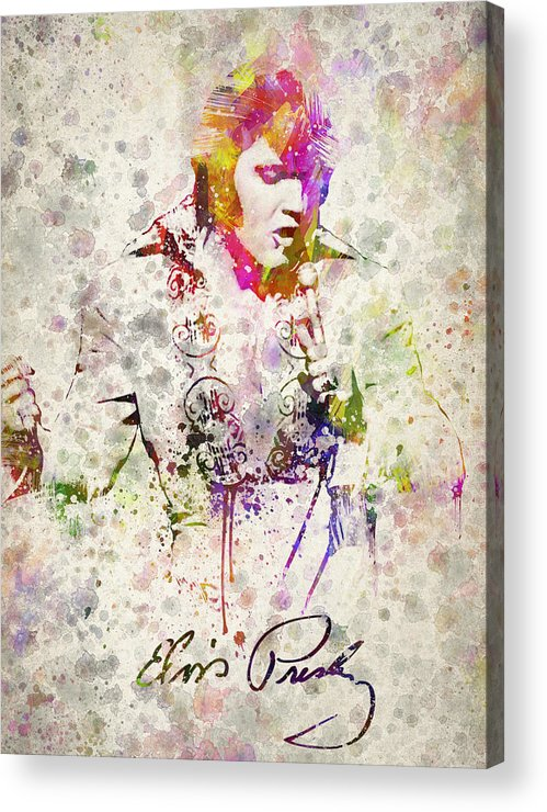 Elvis Presley Acrylic Print featuring the drawing Elvis Presley by Aged Pixel