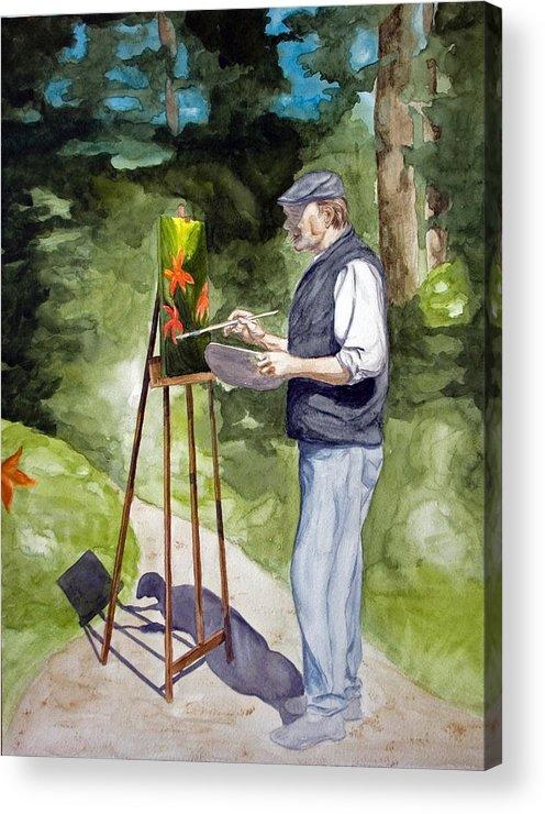 Portrait Acrylic Print featuring the painting En Plein Air by Monika Degan