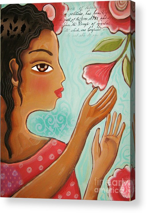 Woman Acrylic Print featuring the digital art Favorite Bud by Elaine Jackson by Elaine Jackson