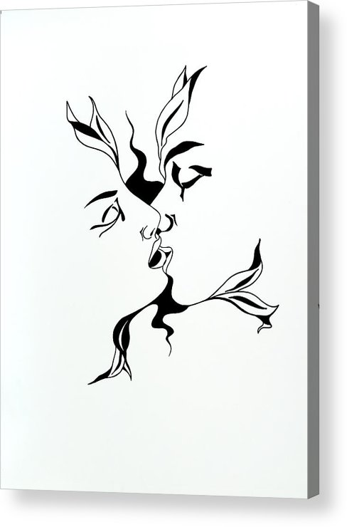 Love Acrylic Print featuring the drawing First Kiss by Yelena Tylkina