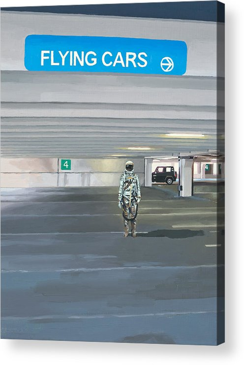 Astronaut Acrylic Print featuring the painting Flying Cars to the Right by Scott Listfield