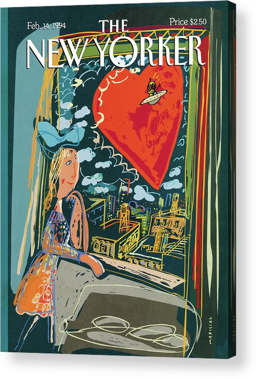 Funny Acrylic Print featuring the painting New Yorker February 14th, 1994 by Javier Mariscal