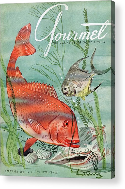 Illustration Acrylic Print featuring the painting Gourmet Cover Featuring A Snapper And Pompano by Henry Stahlhut