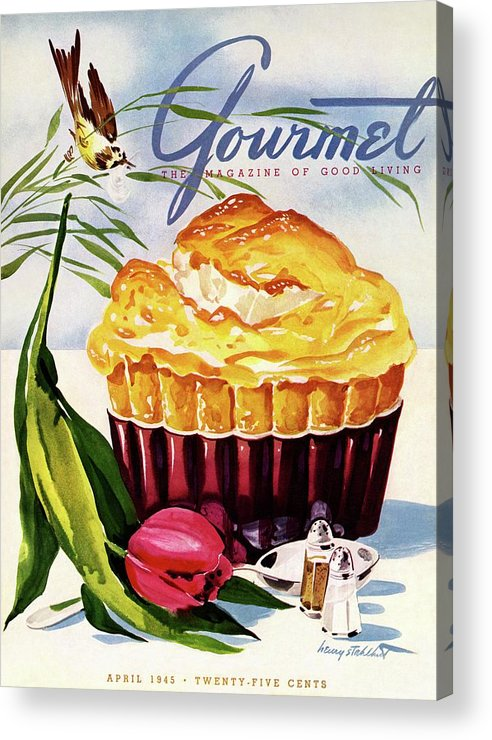 Illustration Acrylic Print featuring the photograph Gourmet Cover Illustration Of A Souffle And Tulip by Henry Stahlhut