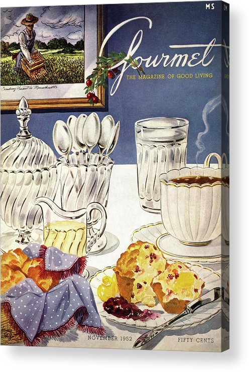 Food Acrylic Print featuring the photograph Gourmet Cover Illustration Of Cranberry Muffins by Henry Stahlhut