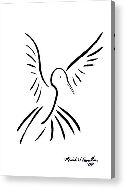 Bird Acrylic Print featuring the drawing Hummingbird by Micah Guenther