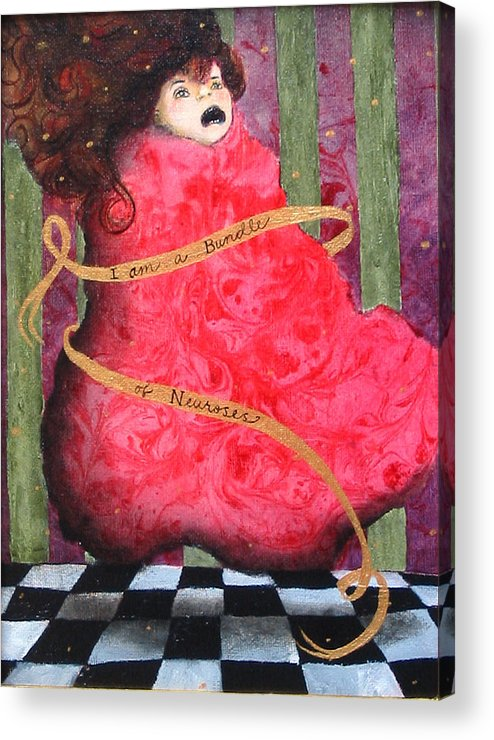 Figure Acrylic Print featuring the painting I Am A Bundle of Neuroses by Pauline Lim
