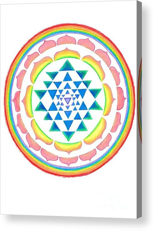Lakshmi Yantra Mandala Acrylic Print featuring the mixed media Lakshmi Yantra Mandala by Chandelle Hazen