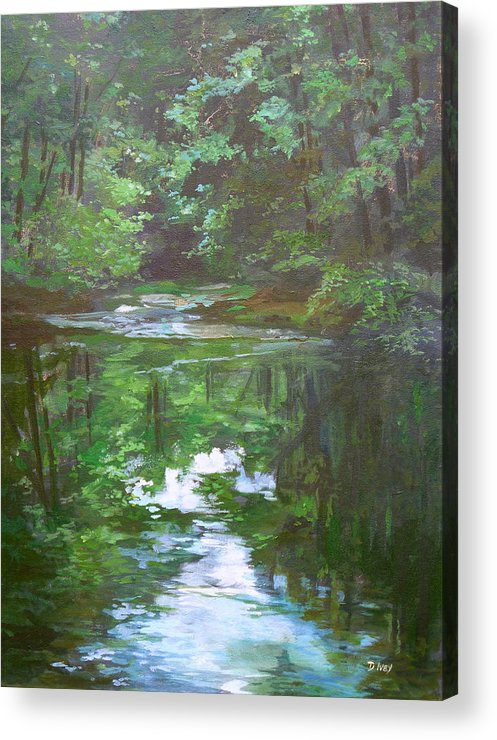 Impressionist Water Landscape Acrylic Print featuring the painting Last Light by Denise Ivey Telep