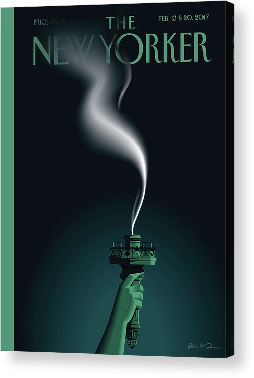 Statue Of Liberty Acrylic Print featuring the painting Liberty's Flameout by John W Tomac