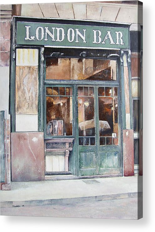 London Acrylic Print featuring the painting London bar-Barcelona by Tomas Castano