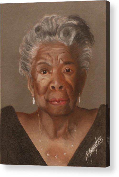 Poet Acrylic Print featuring the drawing Maya Angelou by Jack Hampton
