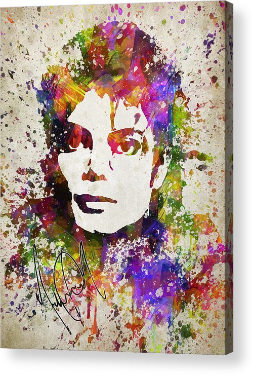 Michael Jackson Acrylic Print featuring the digital art Michael Jackson in Color by Aged Pixel