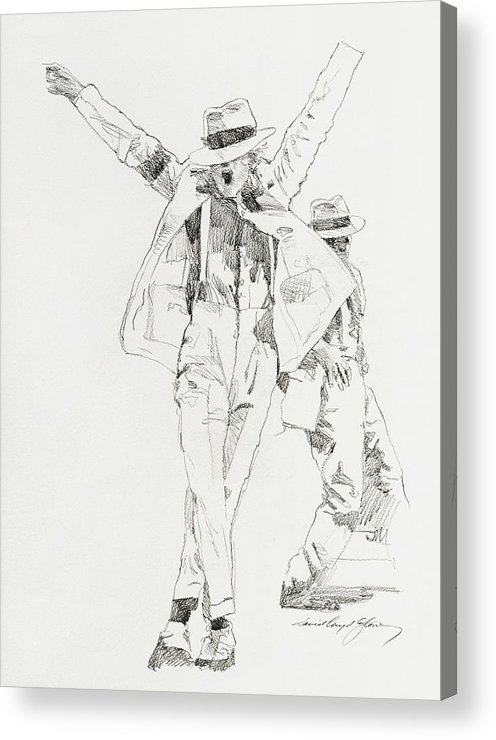 Michael Jackson Acrylic Print featuring the drawing Michael Smooth Criminal by David Lloyd Glover