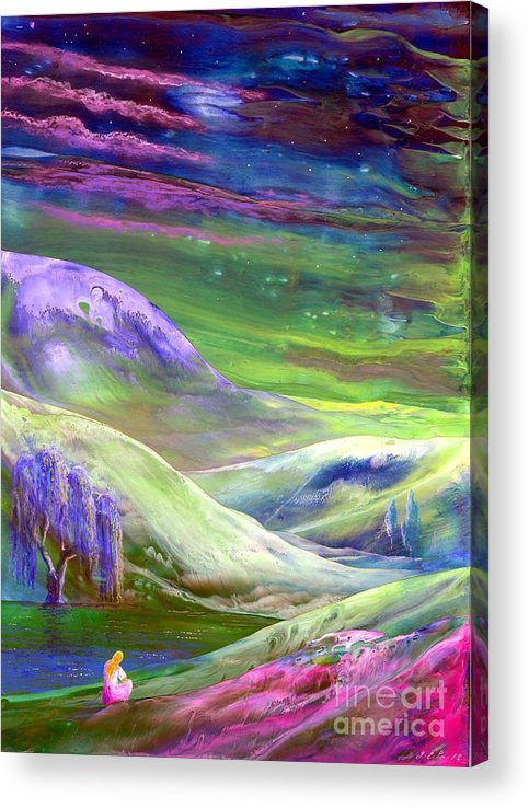 Meditation Acrylic Print featuring the painting Moon Shadow by Jane Small