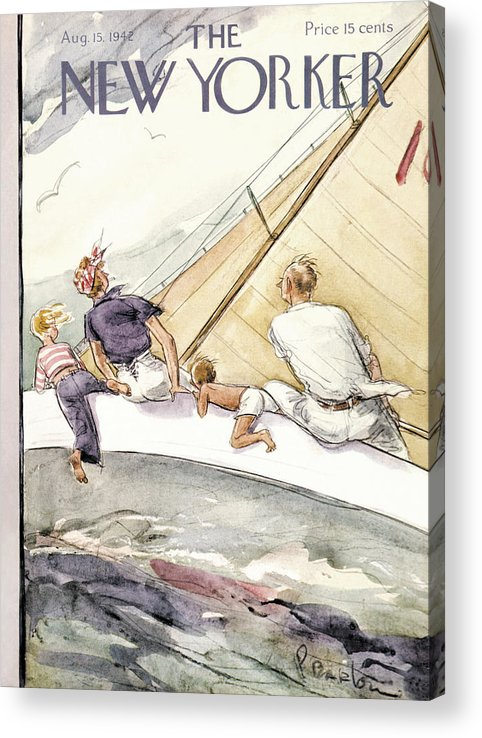 Sailing Acrylic Print featuring the painting New Yorker August 15, 1942 by Perry Barlow