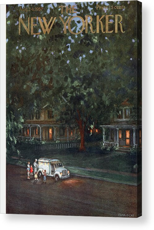 Edna Eicke Eed Acrylic Print featuring the painting New Yorker August 24th, 1957 by Edna Eicke