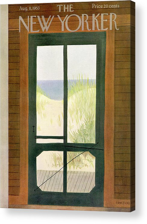 Sea Acrylic Print featuring the painting New Yorker August 8th, 1953 by Edna Eicke