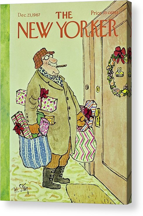 Illustration Acrylic Print featuring the painting New Yorker December 23rd 1967 by William Steig