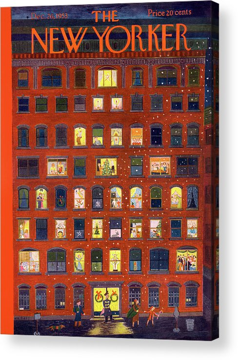 Apartment Acrylic Print featuring the painting New Yorker December 26, 1953 by Ilonka Karasz