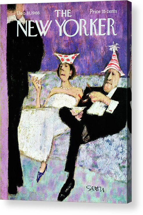 (a Formally Dressed Couple With New Year's Eve Hats On Acrylic Print featuring the painting New Yorker December 31st, 1966 by Charles Saxon