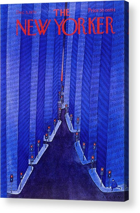 Illustration Acrylic Print featuring the painting New Yorker December 5th 1970 by Jean-Michel Folon