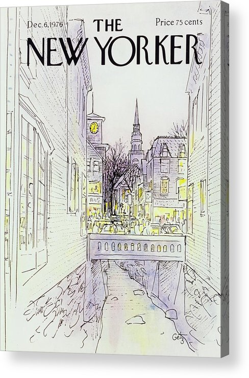 Illustration Acrylic Print featuring the painting New Yorker December 6th 1976 by Arthur Getz