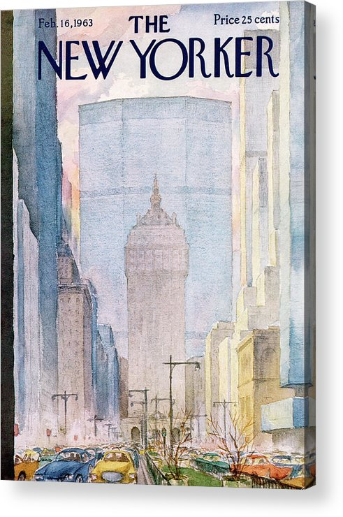 Traffic Acrylic Print featuring the painting New Yorker February 16th, 1963 by Alan Dunn