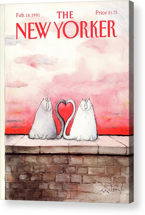Cat Acrylic Print featuring the painting New Yorker February 18th, 1991 by Ronald Searle