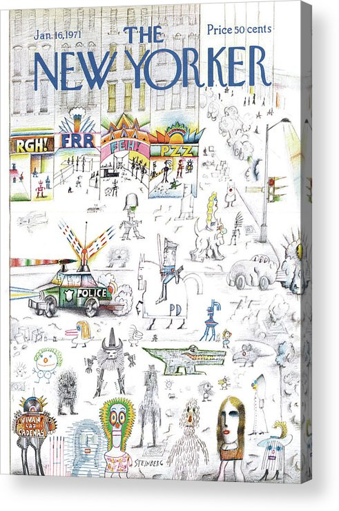 Saul Steinberg 50095 Steinbergattny Acrylic Print featuring the painting New Yorker January 16th, 1971 by Saul Steinberg