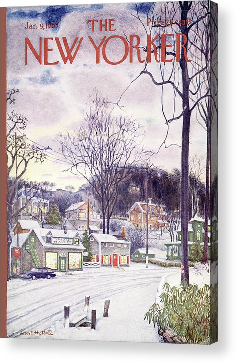 Suburban Acrylic Print featuring the painting New Yorker January 9th, 1965 by Albert Hubbell