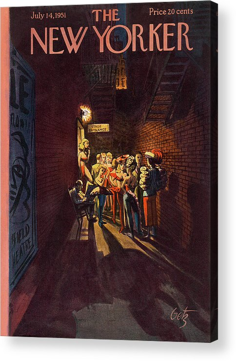 Alley Acrylic Print featuring the painting New Yorker July 14th, 1951 by Arthur Getz