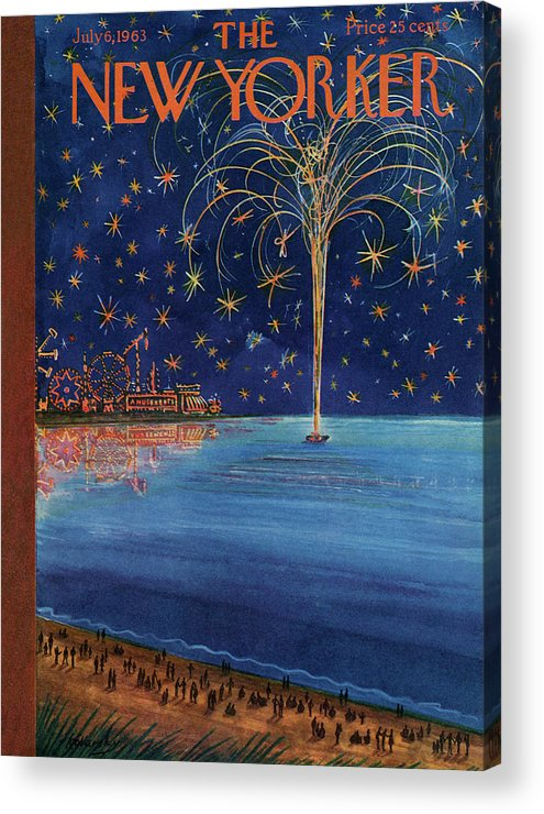 July Fourth Acrylic Print featuring the painting New Yorker July 6th, 1963 by Anatol Kovarsky
