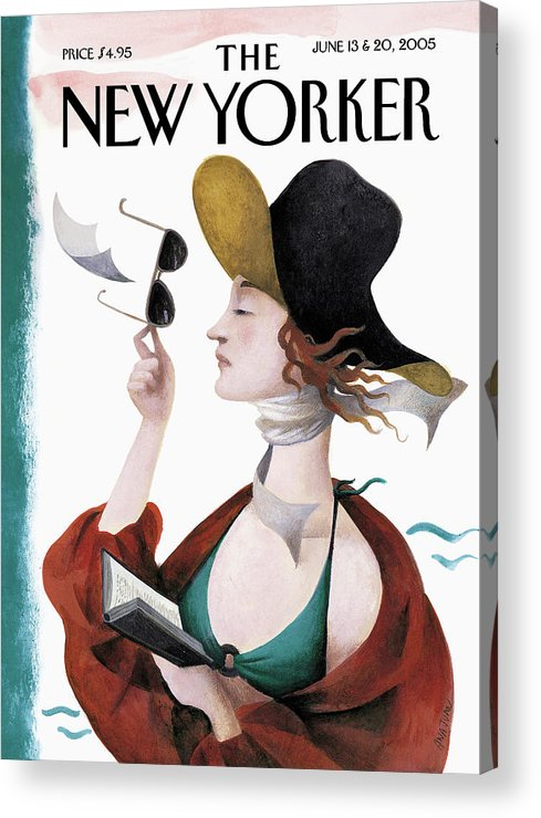 Eustace Tilley Acrylic Print featuring the painting Debut on the Beach by Ana Juan