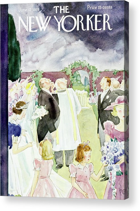 Wedding Acrylic Print featuring the painting New Yorker June 17 1939 by Perry Barlow