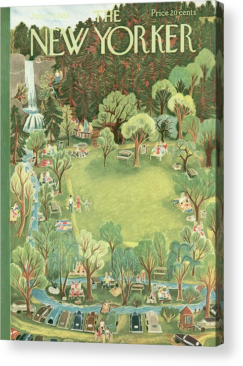 Park Acrylic Print featuring the painting New Yorker June 27th, 1953 by Ilonka Karasz